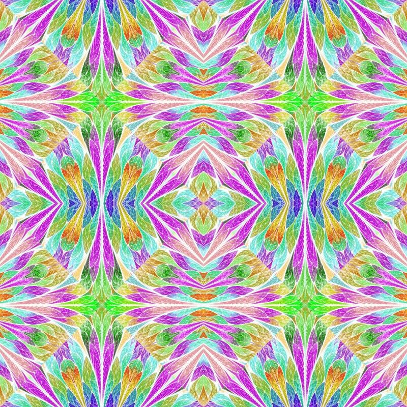 Teste padrão floral colorido no estilo da janela de vidro colorido Você c ilustração stock