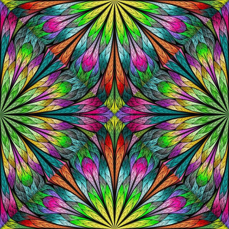 Teste padrão floral colorido no estilo da janela de vidro colorido Você pode usá-lo para convites, tampas do caderno, caixas do t ilustração do vetor