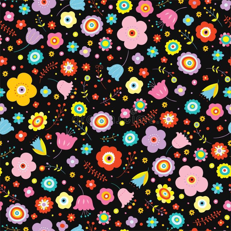 Teste padrão floral colorido no fundo escuro ilustração royalty free