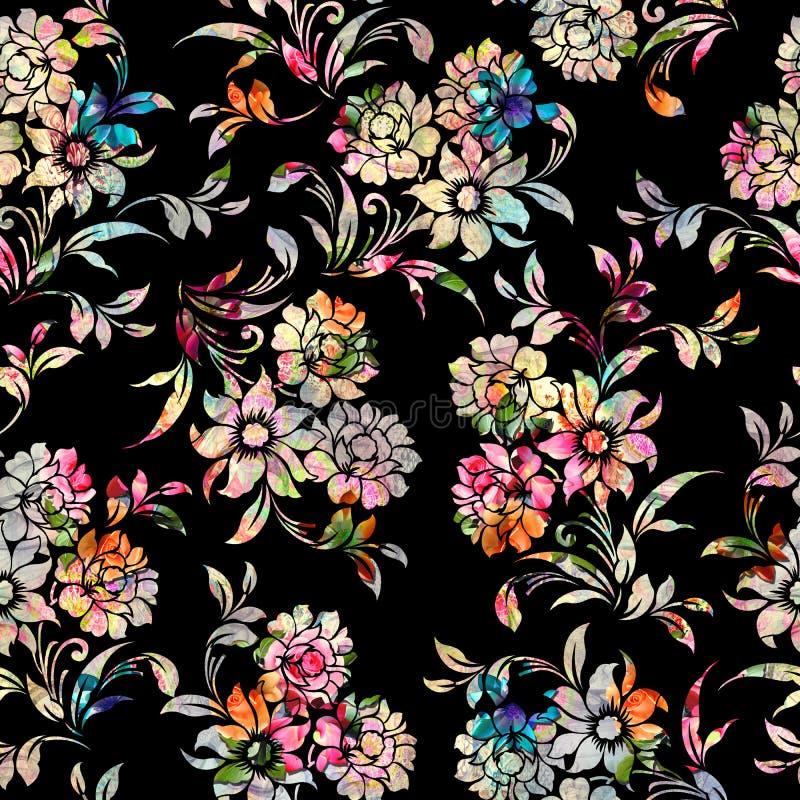 Teste padrão floral colorido sem emenda com fundo preto ilustração stock