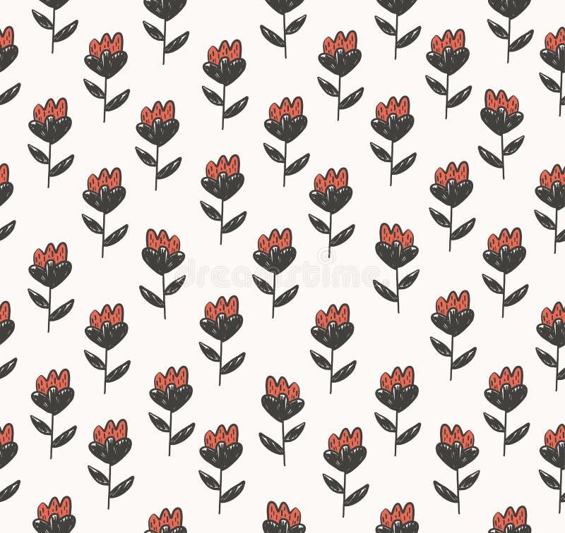 Teste padrão floral com as flores minúsculas vermelhas bonitos ilustração do vetor