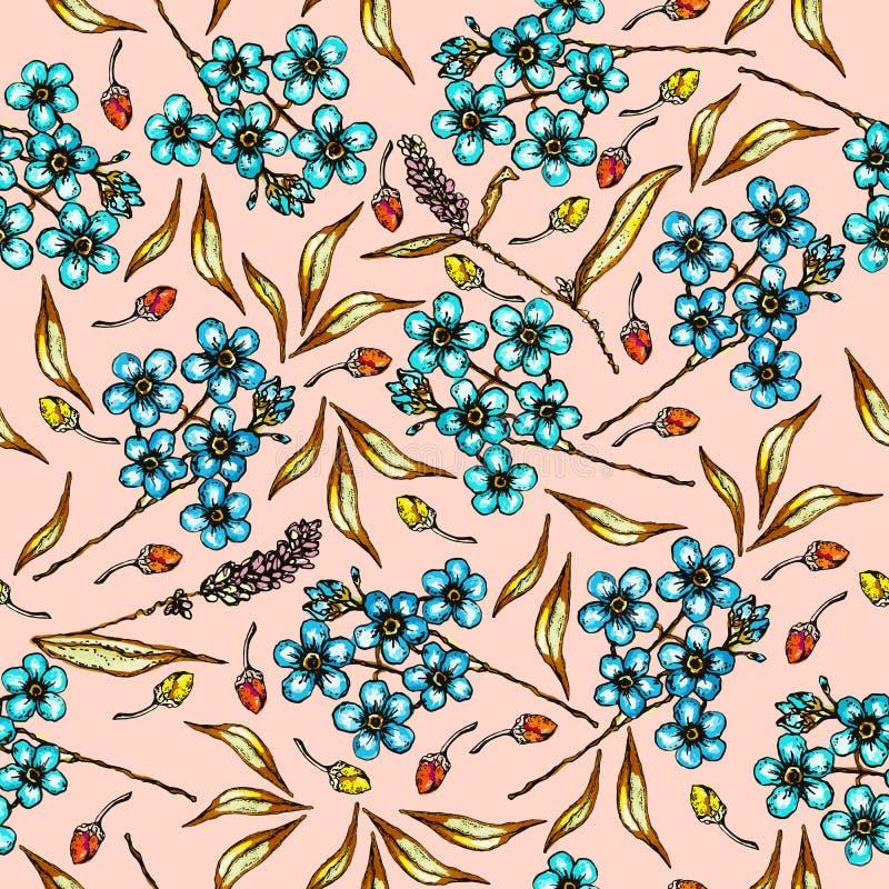 Teste padrão floral com flores bonitas miosótis e folhas Teste padrão do verão com plantas coloridas Colorido sem emenda ilustração royalty free