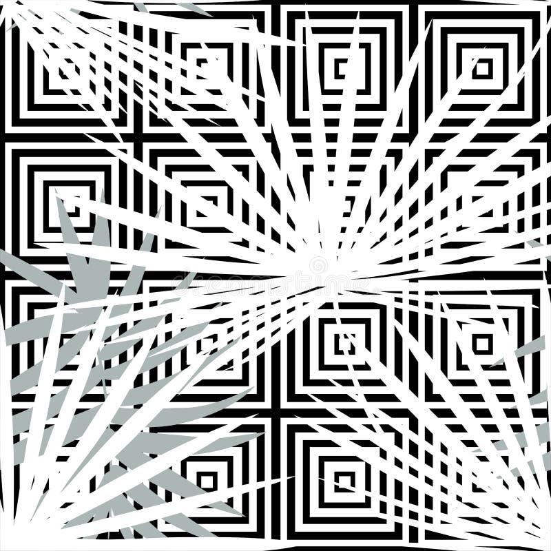 Teste padrão floral com folhas de palmeira, folha do vetor sem emenda tropical da selva Fundo monocromático tropico, preto e bran ilustração do vetor