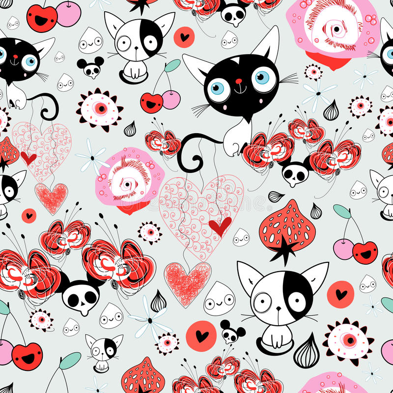 Teste padrão floral com gatinhos ilustração stock