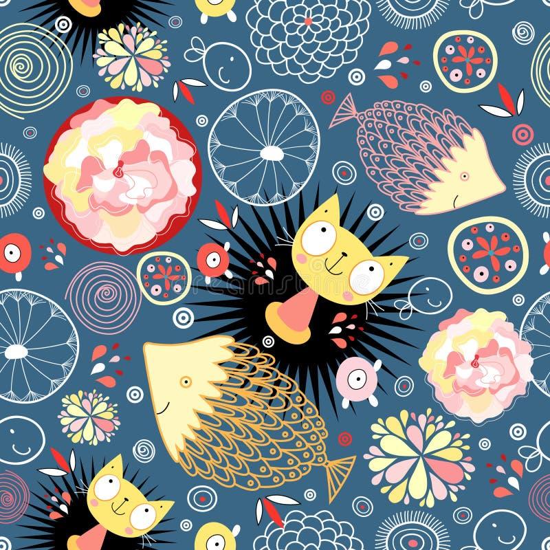Teste padrão floral com gatinhos e peixes ilustração royalty free