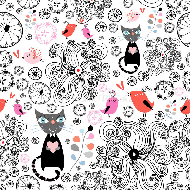 Teste padrão floral com gatos pretos e pássaros ilustração royalty free