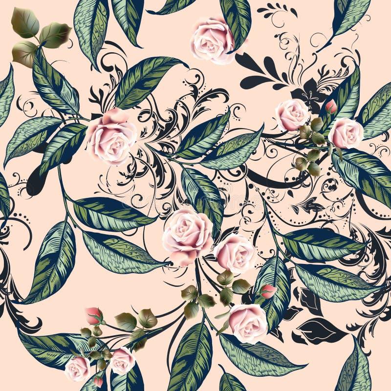 Teste padrão floral com rosas, as flores alaranjadas e as folhas no peac macio ilustração royalty free