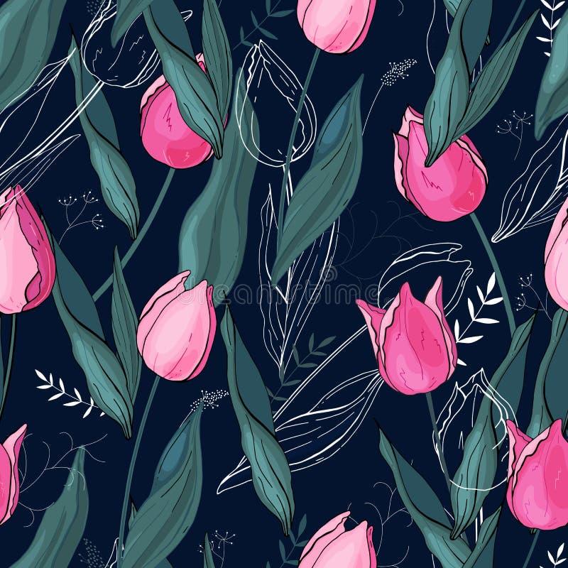 Teste padrão floral com tipo diferente das flores Tulipas Estilo tirado mão no fundo Textura sem emenda do vetor ilustração royalty free
