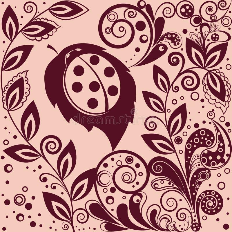 Teste padrão floral com um joaninha foto de stock