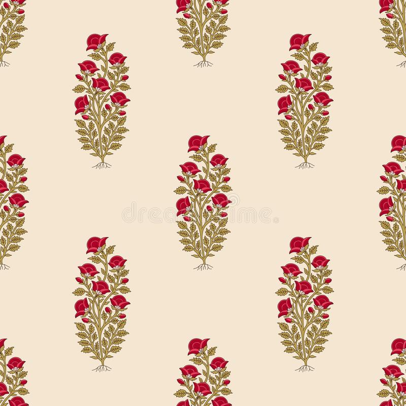 Teste padrão floral da Índia étnica sem emenda ilustração stock
