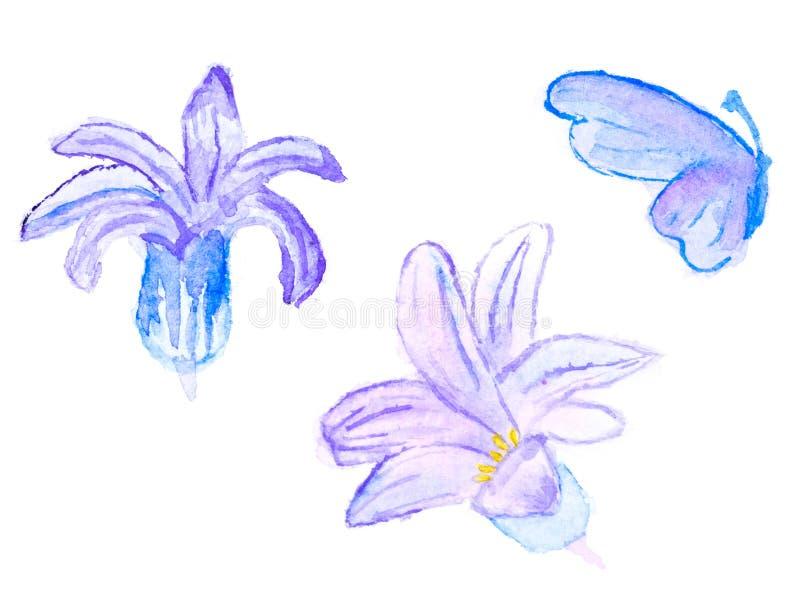 Teste padrão floral da aquarela com as flores e butterf abstratos azuis ilustração royalty free