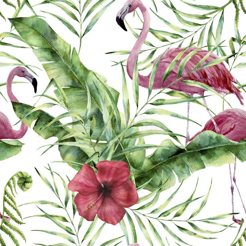 Teste padrão floral da aquarela com flores, as folhas e o flamingo exóticos Ornamento pintado à mão com planta tropical: hibiscu ilustração stock