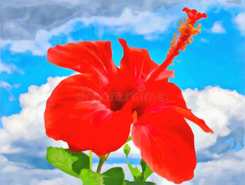 Teste padrão floral da aquarela de Digitas Paisagem natural Flor do hibiscus ilustração do vetor