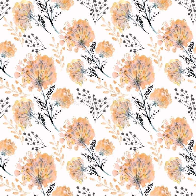 Teste padrão floral da aquarela sem emenda com flores alaranjadas imagem de stock royalty free