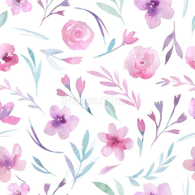 Teste padrão floral da aquarela Teste padrão sem emenda com roxo, ouro e o ramalhete cor-de-rosa no fundo branco Flores, rosas ilustração do vetor