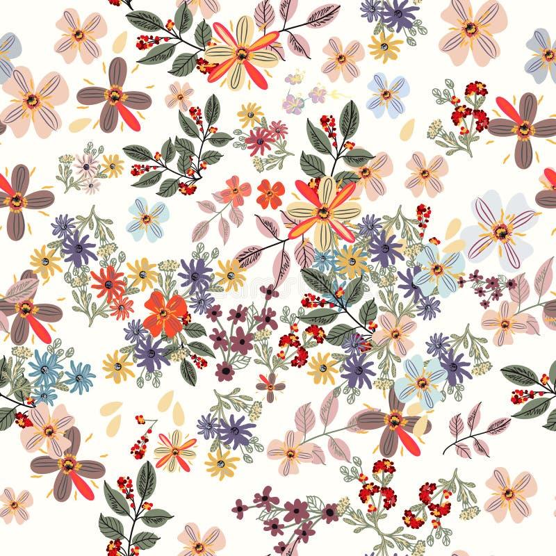 Teste padrão floral da cor pastel com flores da mola Chiqueiro bonito do projeto ilustração do vetor