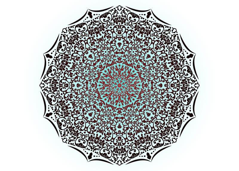 Teste padrão floral da decoração da mandala, módulos do ferro forjado, úteis como cercas, trilhos, grades de janela isoladas no f ilustração do vetor