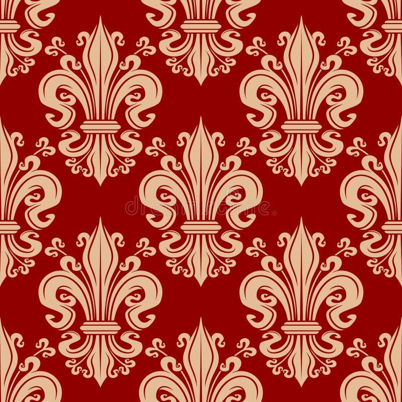 Teste padrão floral da flor de lis sem emenda do vintage ilustração royalty free