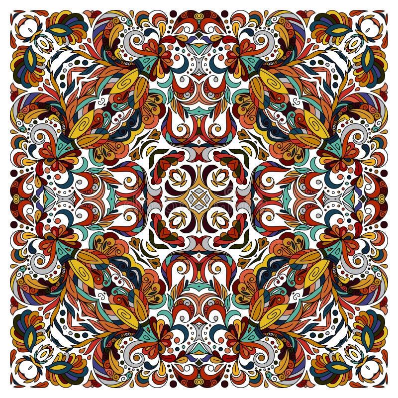 Teste padrão floral da garatuja decorativa, projeto para o quadrado do bolso, matéria têxtil, xaile de seda, descanso, lenço ilustração stock