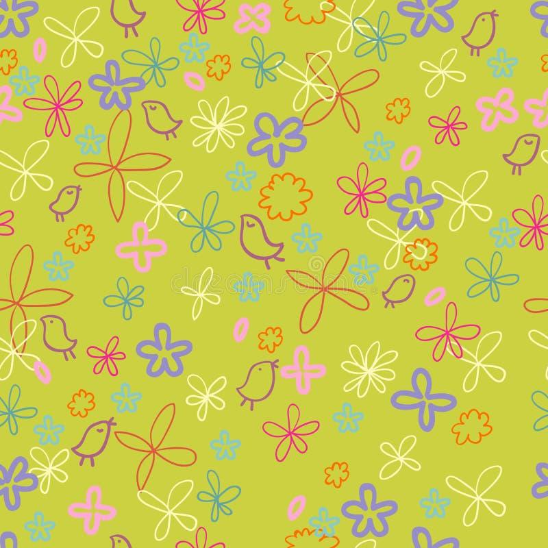 Teste padrão floral da mola agradável ilustração stock