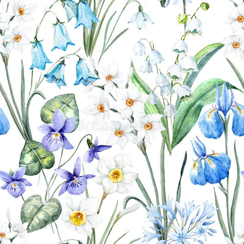 Teste padrão floral da mola da aquarela ilustração royalty free