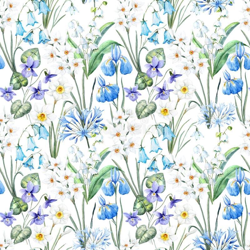 Teste padrão floral da mola da aquarela ilustração stock