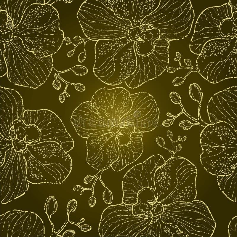 Teste padrão floral da orquídea do grunge sem emenda ilustração stock