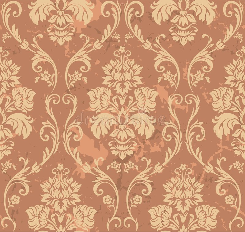 Teste padrão floral de Brown ilustração do vetor