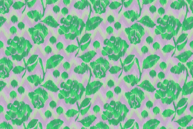 Teste padrão floral de Chevron sem emenda em um ikat verde de Zig Zag que repete o fundo ilustração do vetor