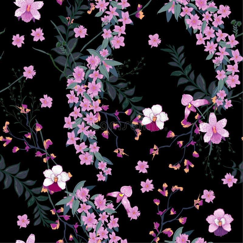 Teste padrão floral de florescência da noite bonita nos muitos tipo de selvagem ilustração stock
