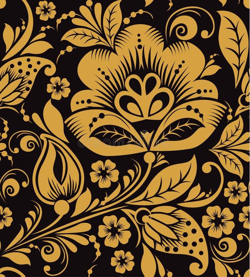 Teste padrão floral de Hohloma ilustração royalty free