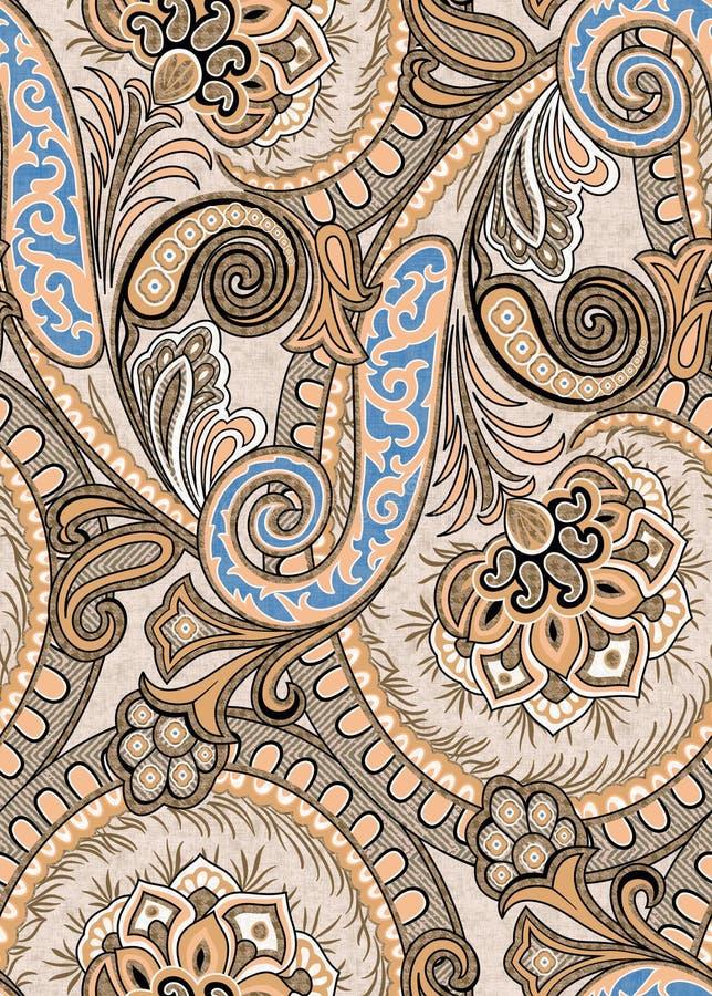 Teste padrão floral de Paisley no estilo do russo Medalhão com papoila e luz vermelhas - flores azuis Projeto do inverno ilustração stock