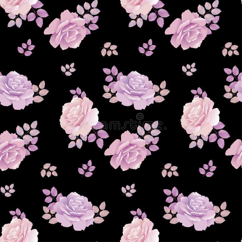 Teste padrão floral de Rosa no fundo preto ilustração do vetor