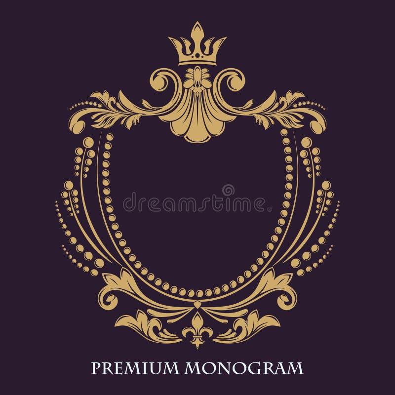 Teste padrão floral decorativo Quadro gracioso do ouro Elementos caligráficos exclusivos do projeto ilustração stock