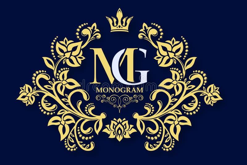 Teste padrão floral decorativo Quadro gracioso do ouro Vector o sinal do negócio, identidade para o hotel, restaurante, joia, for ilustração royalty free