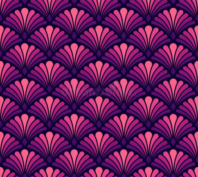 Teste padrão floral do Arabesque sem emenda Art Deco Style Background Textura da flor do sumário do vetor ilustração stock