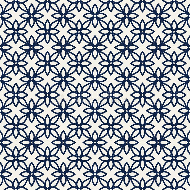 Teste padrão floral do blockprint ilustração stock