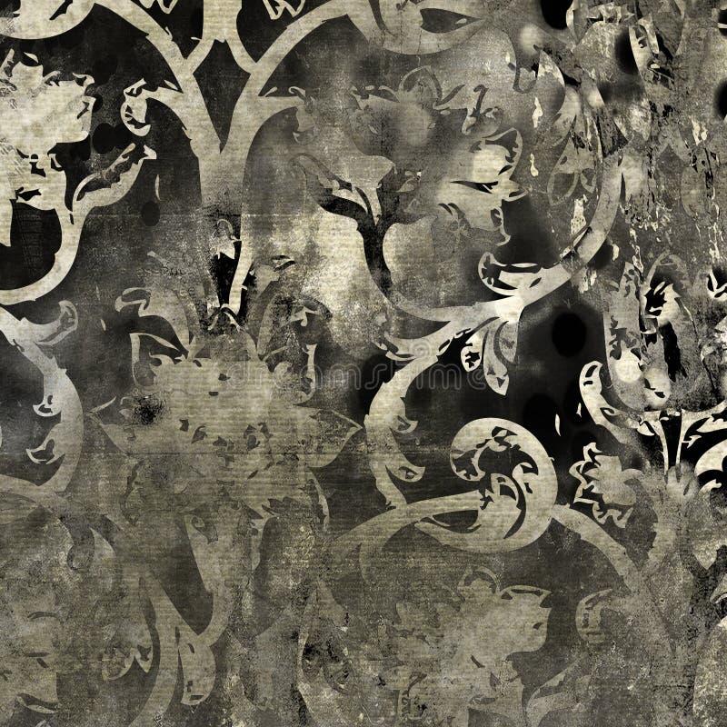 Teste padrão floral do fundo do grunge da arte ilustração do vetor