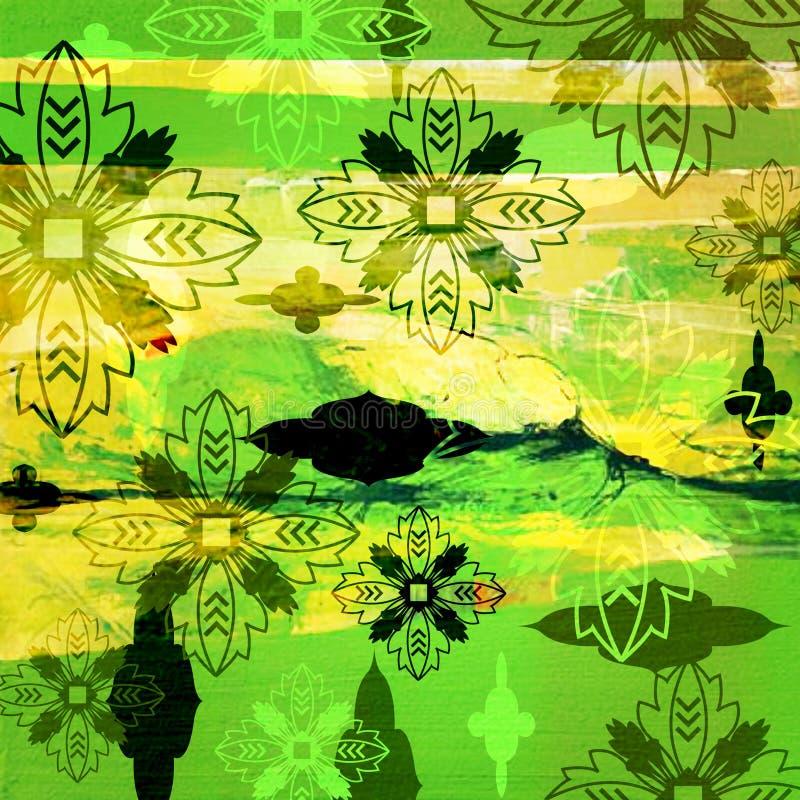 Teste padrão floral do fundo do grunge da arte ilustração stock