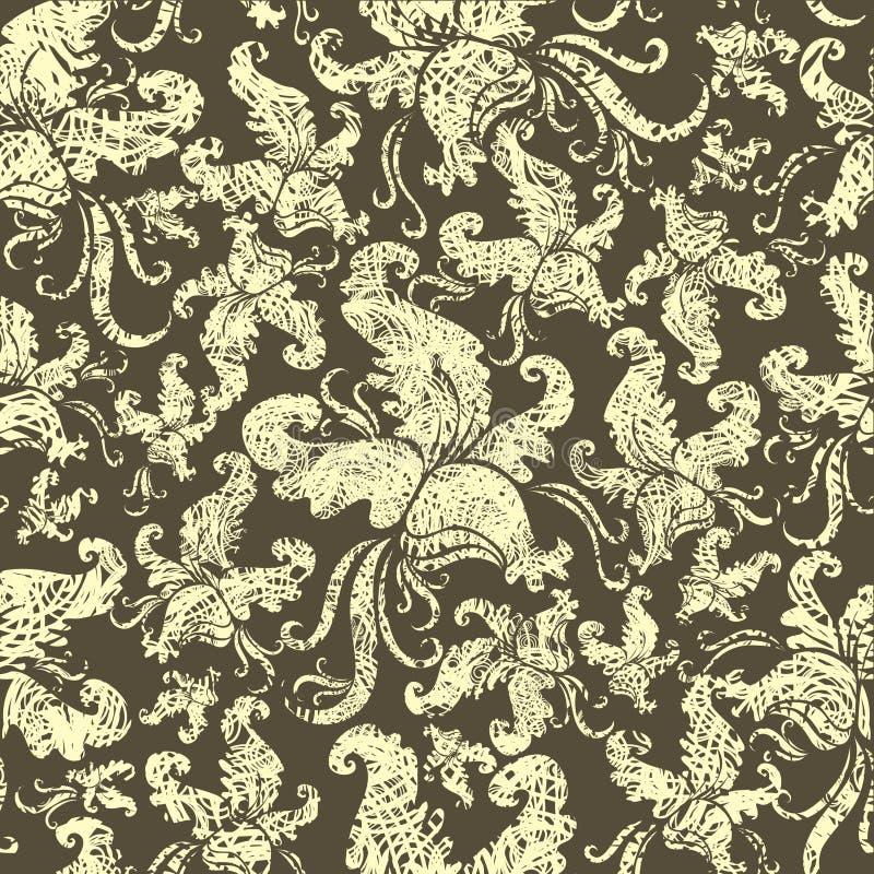 Teste padrão floral do grunge sem emenda do vintage com orquídea ilustração do vetor