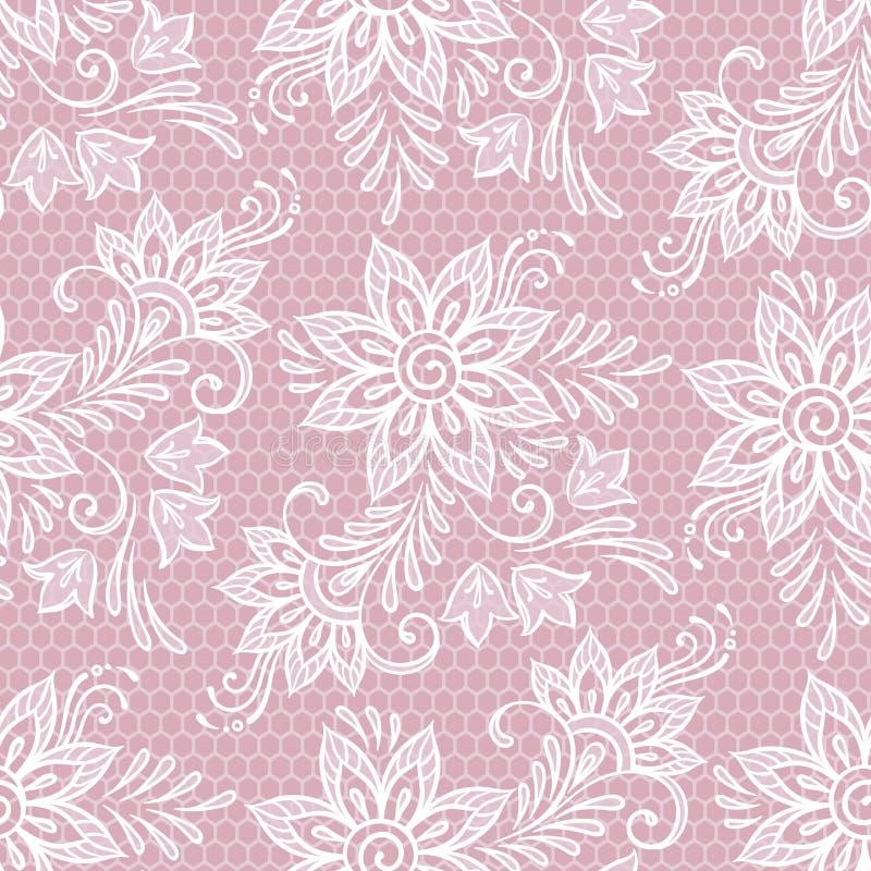 Teste padrão floral do laço sem emenda Flores na ilustração cor-de-rosa do vetor do fundo ilustração stock