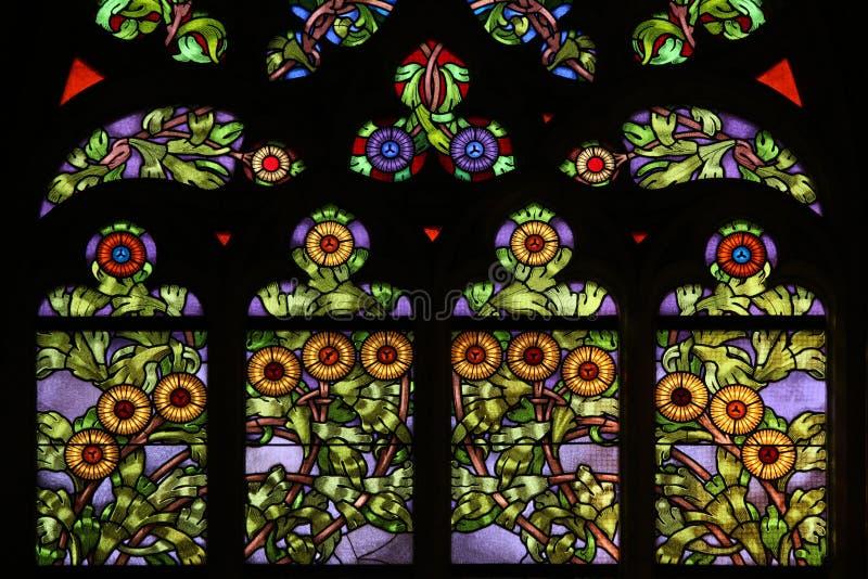 Teste padrão floral do nouveau da arte Indicador de vidro manchado 6 imagem de stock royalty free