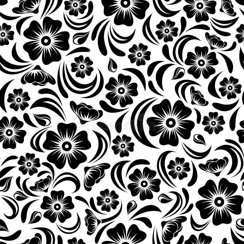 Teste padrão floral do preto sem emenda do vintage Ilustração do vetor ilustração do vetor