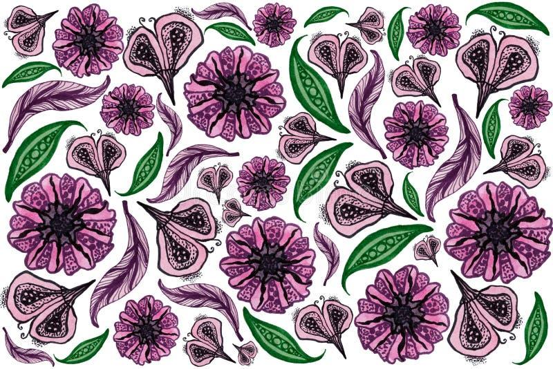 Teste padrão floral do quadro completo ilustração stock