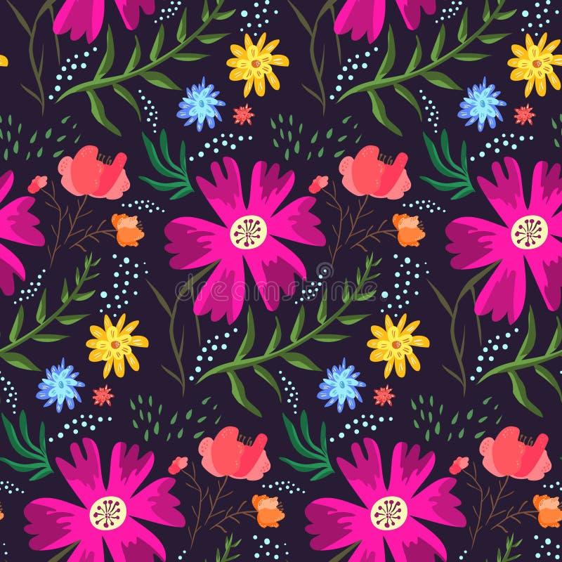 Teste padrão floral do verão do contraste de cores ricas ilustração stock