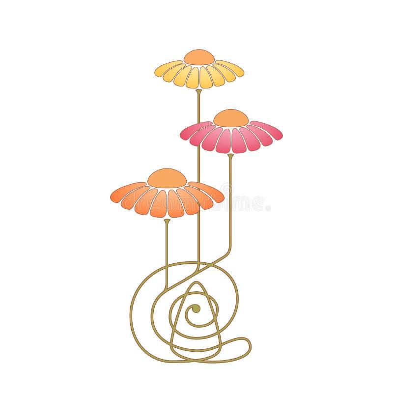 Teste padrão floral do vetor com camomilas Grupo do vintage de flor no estilo do art nouveau Composição floral do art deco isolad ilustração royalty free