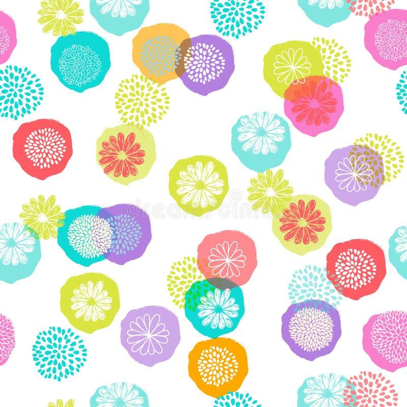 Teste padrão floral do vetor sem emenda com as flores estilizados no fundo branco, feito de círculos coloridos ilustração stock