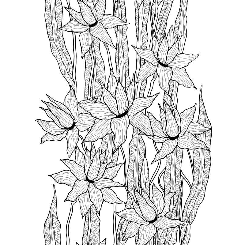 Teste padrão floral do vetor sem emenda Flores reais dos lírios com as folhas estilizados da garatuja Gráficos preto e branco mon ilustração do vetor
