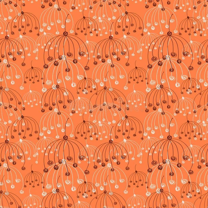 Teste padrão floral do vetor sem emenda Mão vermelha fundo abstrato tirado com flores ilustração stock
