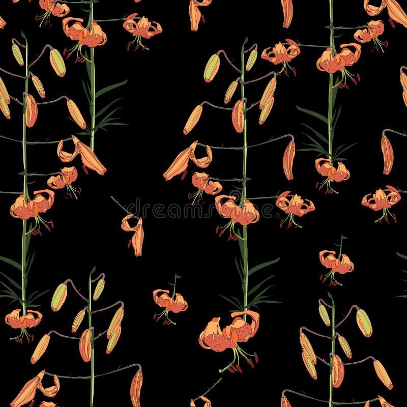 Teste padrão floral do vetor sem emenda O ramo alaranjado dos lírios floresce em um fundo preto ilustração royalty free